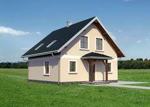 Симпатичный двухэтажный дом с эркером, отделанным натуральным камнем