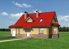 Живописный двухэтажный дом с круглыми и арочными окнами