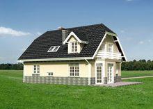 Комфортный дом в два этажа с эркером и встроенным гаражом