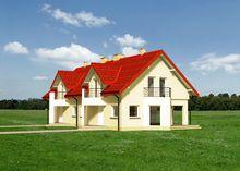 Симпатичный таунхаус уникальной архитектуры для проживания двух семей