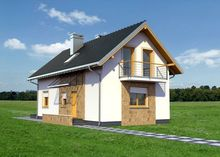 Компактный особняк с мансардным этажом, террасой и балконом