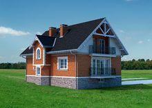 Оригинальный загородный дом с крыльцом и верандой