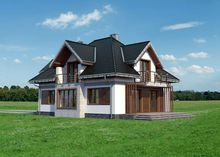 Проект загородного коттеджа с красивой открытой террасой