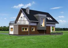 Проект оригинального загородного дома с просторным балконом