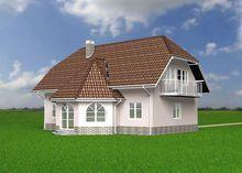 Архитектурный проект красивого загородного коттеджа с балконом и эркерами
