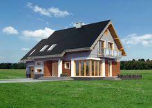 Архитектурный проект стильного коттеджа с балконами и просторной террасой
