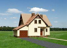 Строительный проект коттеджа 170 m² с мансардой и гаражом на 1 машину