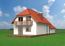 План двухэтажного загородного коттеджа с просторной зоной приема гостей