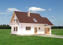 Компактный мансардный домик с гаражом на 1 автомобиль