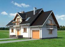 Проект симпатичного дома с гаражом на одно авто и эркером