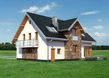 Красивый дом в два этажа со стеклянными балюстрадами балконов