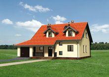Планировка коттеджа площадью 165 кв.м с деревянным крыльцом и террасой