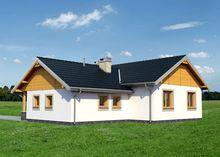 Чертеж одноэтажного дома на 118 кв м, декорированного натуральным камнем