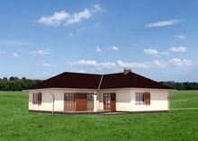 Чертеж компактного дома на 130 кв. м с просторной гостиной и камином