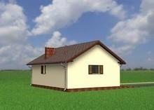Проект одноэтажного здания с жилищной зоной и гаражом