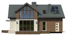 Проект стильного 1-этажного коттеджа с мансардой и большим фронтальным окном