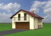 Проект здания с гаражом и жилищной частью на чердаке