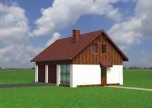Архитектурный проект гаража для двух автомобилей с кухней на чердаке