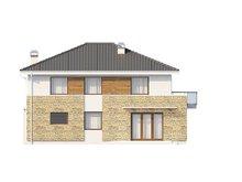 Проект стильного двухэтажного дома с пристроенным гаражом