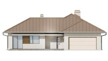 Проект одноэтажного жилого коттеджа с угловой террасой