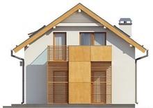 Проект коттеджа с гаражом и мансардой для узкого участка