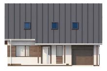 Проект аккуратного мансардного коттеджа со встроенным гаражом для одной машины