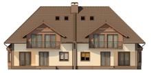 Проект двухэтажного коттеджа с чердаком на две семьи