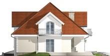 Проект дома с балконами и многоскатной крышей