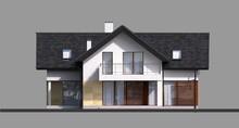 Двухэтажный коттедж с верандами и балконами