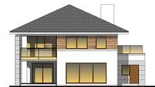 Красивый коттедж с просторной террасой на втором этаже