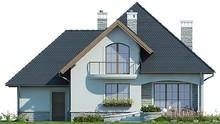 Двухэтажный дом с полукруглыми красивыми балконами