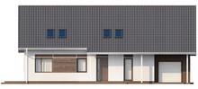 Мансардный коттедж с угловой террасой и гаражом