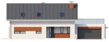 Проект красивого коттеджа со встроенным гаражом и 2 спальнями