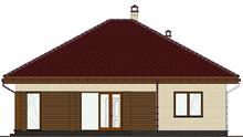 План компактного одноэтажного дома с ярким экстерьером общей площадью 115 кв. м, жилой 59 кв. м