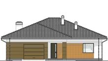 План современного дома с пристроенным гаражом общей площадью 188 кв. м, жилой 82 кв. м