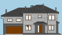 План двухэтажного кирпичного особняка площадью 287 кв. м с вместительным помещением для хранения двух автомобилей