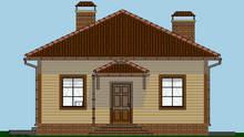 Проект милого дачного домика для сезонного времяпрепровождения общей площадью 91 кв. м, жилой 35 кв. м