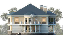 Схема просторного особняка площадью 430 кв. м с круглым балконом и пристроенным гаражом