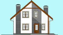 План стильного дома площадью 135 кв. м с декором из натурального камня