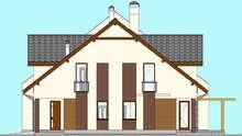 Проект двухквартирного таунхауса общей площадью 416 кв. м со встроенными гаражами