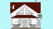 План двухэтажного дома в контрастном исполнении с ажурным ограждением террасы и балкона общей площадью 133 кв. м.