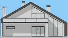 Проект стильного дома общей площадью 208 кв. м с просторной террасой и балконом