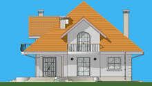Схема европейского особняка площадью 316 кв. м с террасой оригинальной формы