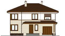Двухэтажный дом с современным экстерьером в теплом контрасте