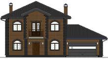 Планировка современного дома в 2 этажа с кирпичным фасадом