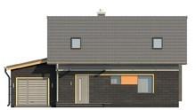 Компактный дачный домик с гаражом и мансардой