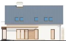 Проект 1,5-этажного дома со стеклянным эркером