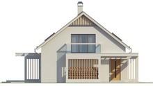 Проект мансардного дома со стеклянным эркером