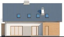 Проект дома с мансардным этажом, большим техническим помещением и кабинетом
