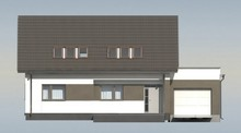 Проект дома на один этаж с мансардой и большим окном в гостиной